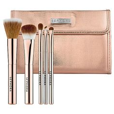 on my wish list... the prettiest rose gold brush set!