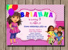 Dora and Friends Birthday Invitation Dora Invite New Dora