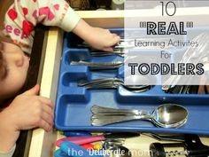"""Toddlers are active explorers of their environments! Toddlers like sensory experiences and hands-on activities. Check out these 10 """"real"""" learning activities for toddlers."""