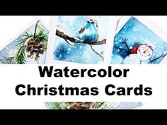 Watercolors – Easy Holiday Cards Painting Tutorial with Maria Raczynska Painted Christmas Cards, Watercolor Christmas Cards, Diy Christmas Cards, Christmas Art, Holiday Cards, Christmas Night, Easy Watercolor, Watercolour Tutorials, Watercolor Cards