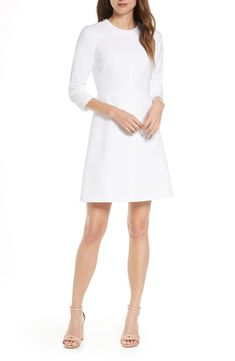 Free shipping and returns on Eliza J Stretch A-Line Dress at Nordstrom.com. An exposed zipper shines at the back of a timeless A-line dress featuring a clean, sophisticated design and a crisp ivory hue. White Dress Fall, Rehearsal Dinner Outfits, Dresses For Work, Dresses With Sleeves, Plus Size Blouses, Winter Dresses, Nordstrom Dresses, Dresses Online, Fashion Dresses