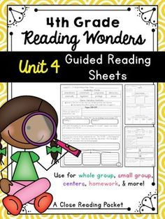 I typed up the following sheets after getting great reviews on my 3rd grade materials. Expect more to come!Included: Unit 4 - 4th Grade - Workshop StoriesLesson 1 - 2 pagesLesson 2 - 2 pagesLesson 3 - 2 pagesLesson 4 - 2 pagesLesson 5 - 2 pagesThese sheets are very comprehensive and cover skills:visualize, predict, infer, compare/contrast, cause/effect, author's point of view, main idea and detail, summarize, nonfiction text features, genres, and more!These pages follow the READING WONDERS…