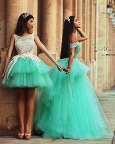 Mint Green layered Ball Gown Quinceanera Dresses Short and Long Backless Party Dresses_Quinceanera Dresses_Special Occasion Dresses_Buy High Quality Dresses from Dress Factory Sweet 16 Dresses, Sweet Dress, Pretty Dresses, Beautiful Dresses, Simple Dresses, Xv Dresses, Quince Dresses, Formal Dresses, Dresses 2016