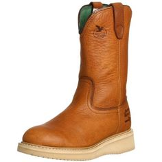 """Georgia Boot Men's 12"""" Wedge Wellington Work Boot Georgia Boot. $79.99. Boot opening measures approximately 13"""" around. Rubber sole. Shaft measures approximately 10"""" from arch. leather. Full grain barracuda gold leather molds to the foot"""
