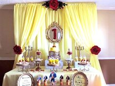 Dessert table from a Beauty and the Beast 1st Birthday Party on Kara's Party Ideas | KarasPartyIdeas.com (25)