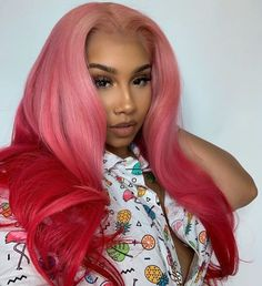 Women Pink Wigs Lace Front Hair Brown Hair With Pink Highlights Ashley Benson Pink Hair Vibrant Pink Hair – tomatoral Wig Styles, Curly Hair Styles, Natural Hair Styles, Lucy Hale, Lace Front Wigs, Lace Wigs, Brown Hair With Pink Highlights, Pink Wig, Baddie Hairstyles