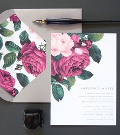 Floral Wedding Invitations by Rachel Marvin Creative These are PERFECTION. LOVE The floral details, and the grey envelope, would definitly include a picture too. <3 THE FONT too, note: the simple MODERN font on the inside, more caligraphy on the outside?