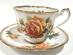 Royal Standard Tea Cup and Saucer, Romany Rose, Yellow Rose Cups, Antique Teacups, Tea Cups Vintage, Tea Set, English Bone China Cups by AprilsLuxuries on Etsy