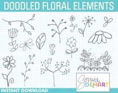 Doodle+Floral+Elements+Sketched+Flowers+Hand+by+SonyaDeHartDesign,
