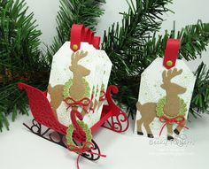 Day 4 Santa's Sleigh and Reindeer Tags All tags need a festive holder! Shop Stampin' Up! online from the conven...