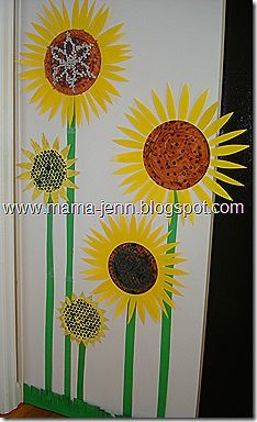 Sunflowers For Kids To Create Could Do Bubble Wrap Printing Some Of The Centers Also Measure Childs Height And Make Their Sunflower Grow On