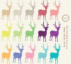 Deers Colorful SET - 01 (6 inch) Clip Art - animal. $2.50, via Etsy.