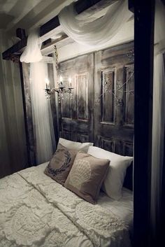 White spooky gothic bedroom idea.