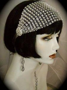 1920s headpieces | Flapper-Headband-1920s-headpiece-Gatsby-Silver-Crystal-Vintage-EV ...