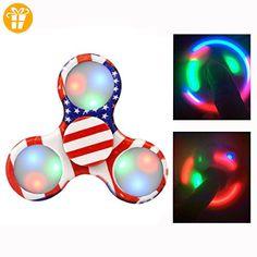 Itian LED Licht Fidget Hand Spinner Finger Spielzeug Focus Dekompression Gyro Kreisel glänzender Spielzeug leuchtende Starry sky multicolored rainbow Triangle - Fidget spinner (*Partner-Link)