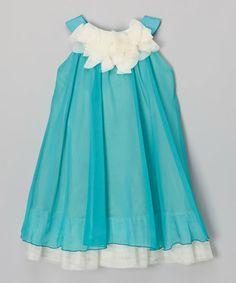 Another great find on #zulily! Aqua & White Floral Yoke Dress - Toddler & Girls #zulilyfinds