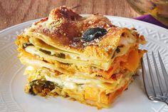 Vegetarian Thanksgiving Fall Lasagna Recipe. This is a little different than other recipes - no zucchini, no spinach, no eggplant. In this delicious alternative dinner or lunch main dish, you'll find tons of tasty butternut squash, no-boil or oven-ready noodles, pumpkin puree, creme fraiche, sage, nutmeg, arugula, fontina cheese and parmesan. A lot more healthy than traditional lasagna, but easy to make with our step by step instructions!