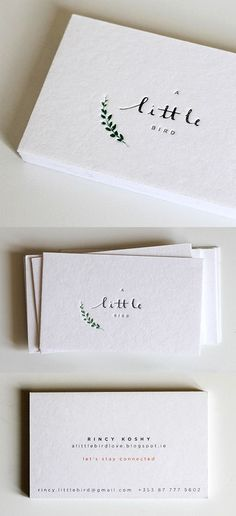 Beautiful Hand Drawn Typography And Illustration On A Minimalist Design Letterpress Business Card: