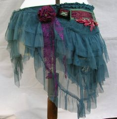 Cranberry and green belly dance costume belt. Tribal gypsy tiered skirt hip belt in tulle, net, lace, vintage and upcycled materials. OOAK