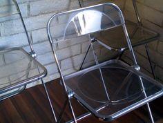 Vintage Mid Century Modern Giancarlo Piretti Plia Chair Clear Plastic 3 Disc Hinge Folding Chair Italian Retro Lounge Seating by FeigningDanish on Etsy https://www.etsy.com/listing/213083418/vintage-mid-century-modern-giancarlo
