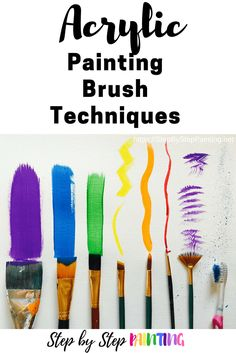Acrylic Painting Brush Techniques - Step By Step Painting tutorial addressing each of these brushes! Acrylic Brushes, Acrylic Painting For Beginners, Acrylic Painting Techniques, Step By Step Painting, Beginner Painting, Acrylic Art, Diy Painting, Painting Trees, Painting Canvas