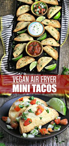 Potato Air Fryer Tacos – A Game Day Favorite! – Vegan Huggs Score big on game day with these crispy Potato Air Fryer Tacos – they're bite-sized, perfect for dipping, and totally crowd-pleasing! Mexican Appetizers, Vegan Appetizers, Vegan Snacks, Vegan Dinners, Mexican Food Recipes, Appetizer Recipes, Vegetarian Recipes, Healthy Recipes, Mexican Tapas