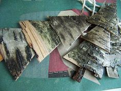 Birch bark christmas tree ornaments-finally!! I have been looking for something to do with the bark!