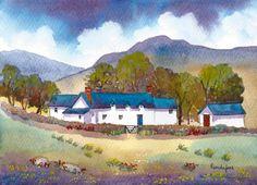 Original Watercolour Hillside Cottage by Pamelajonesartstudio, £40.00