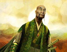 Ilustración que realicé para la carta Mirumoto Yozo para la expansión Torn Asunder del juego The Legend of the Five Rings