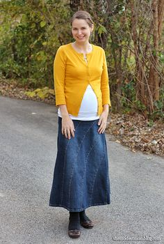 Modest Monday and a Link Up! I'm wearing a new favorite maternity cami and a comfortable sweater!