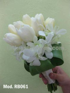 white tulips #wedding #bouquet with dendrobium orchid