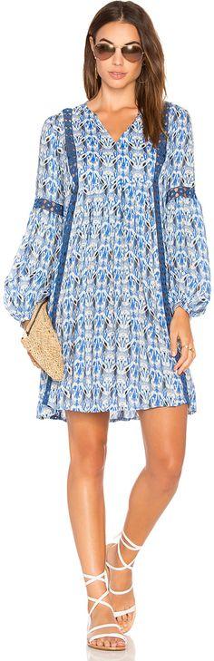 Blue patterned mini dress. Ella Moss Tribal Romance Tunic