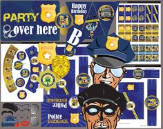 Police party printables for kids and even adults. Police Party, Young At Heart, Bar Mitzvah, Sweet Sixteen, Party Printables, Custom Design, Birthday Parties, Invitations, Happy