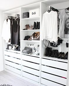 white contemporary open closet wardrobe || Instagram photo by @fregnate •