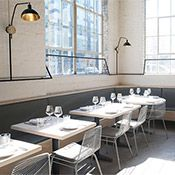 Lilia Opens in Williamsburg: The restaurant occupies a former auto-body shop. Casement windows let in tons of light. Nyc Bucket List, Ricotta Gnocchi, Restaurant New York, Nyc Restaurants, Casement Windows, Commercial Interiors, Dining, Interior Design, Clams