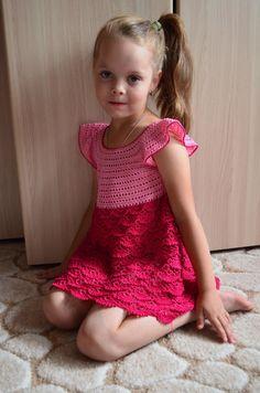 Платье Розовое счастье. крючком Часть 1