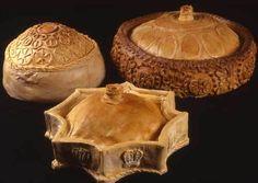 Three decorated pies made using 17th century designs