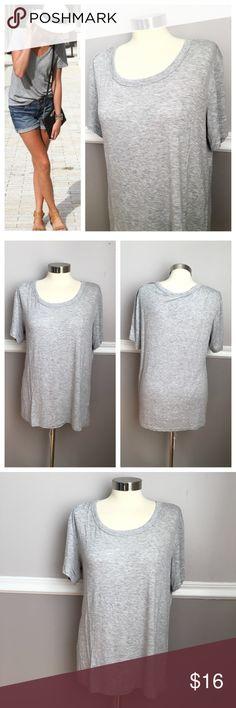 NWOT Grey Soft Tshirt Super soft tshirt - scoop neck. Size medium..little oversized so can fit large. 95% rayon 5% spandex. First photo on left not actual item * just showing for style! BUNDLES 20% OFF  Tops Tees - Short Sleeve