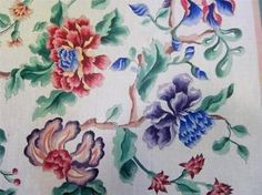 Handpainted-OOAK-Needlepoint-Canvas-Floral-Signed-Rug-Jacobean-3-str-32x36