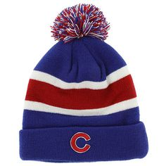147ca1dd2ec Chicago Cubs Tri-Color Cuffed Pom Knit by 47 Brand  Chicago  Cubs