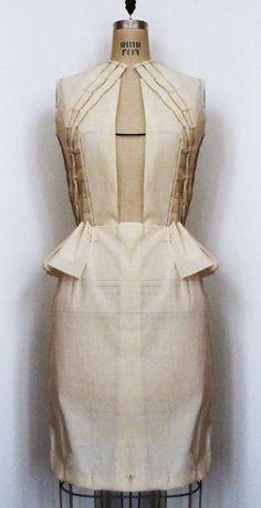 Fashion Design - structured dress garment construction; muslin draping; pattern making; moulage; sewing & fabric manipulation