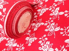 Floral red vintage kimono fabric by KIMONOCARDS on Etsy