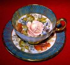 AYNSLEY J.A.BAILEY TEA CUP & SAUCER FLORAL & GOLD CHINTZ in TORQUOISE eb315