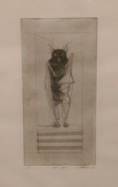 Bat Being, Thomas Humphries, 2015. Copper etching on paper. Purchased at New Art West Midlands, Waterhall, Birmingham Museum & Art Gallery, 2016.