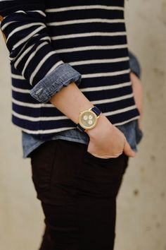 Layer chambray under long-sleeved black & white striped tee w/ black pants