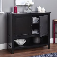Black Wooden Buffet Cabinet Kitchen Pantry Storage Unit Modern Dining Server Set #BlackWoodenBuffetCabinet #Modern
