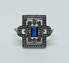 Art Deco Style Sterling Silver and Sapphire Ring Size 8 / Gatsby Victorian Edwardian Bohemian Boheme Flapper Gypsy Erte September Birthstone