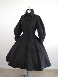 Vintage 1940's 40's Lilli Ann Charcoal Gray Wool New Look Princess Coat with Puffed Balloon Sleeves