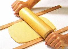 Tip   How to make sure the dough is even in thickness Roll out between 2 flat sticks the same thickness.