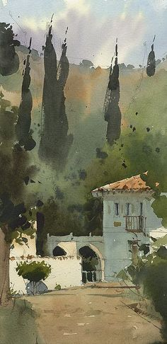 "Khan Palace"" watercolor on paper Watercolor Trees, Watercolor Sketch, Watercolor Artists, Watercolor Techniques, Watercolor Landscape, Abstract Watercolor, Abstract Landscape, Landscape Paintings, Watercolor Architecture"